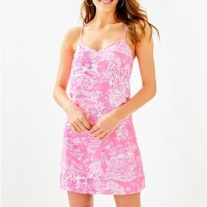Lily Pulitzer XL DUSK STRAPPY SILK DRESS Pink